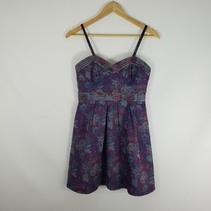 FREE PEOPLE Purple Floral Print Sweetheart Dress